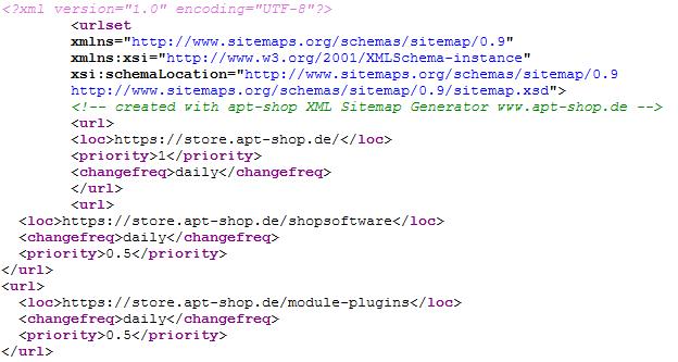 Sitemaps im apt-shop